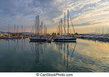 Super Yachts moored at Sukosan Harbor near Zadar, Croatia -...