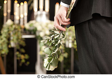 aflição, -, homem, com, branca, rosas, em,...
