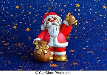 Babbo Natale - babbo Natale che suona campana e tiene sacco...