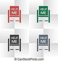 Flat icon in different colors wheelchair assistance