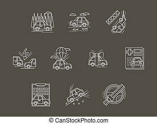 White line car insurance vector icons set