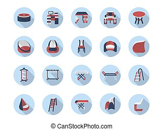 Furniture for home flat color vector icons