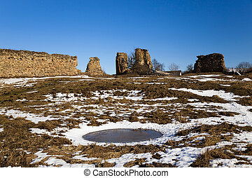 ruins, Belarus Winter - the ruins of the ancient ramparts of...