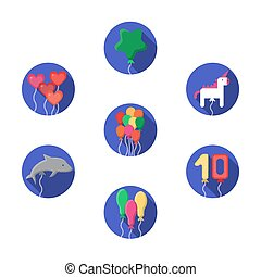 Festive colorful balloons vector icons set