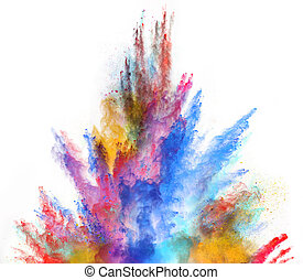 Launched colorful powder on white background - Launched...