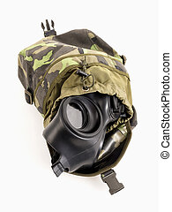 Brown army shoulder bag with the gas mask inside