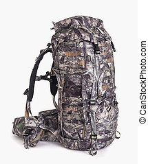 hiking backpack for hunters camouflage with side pockets on a white background