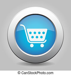 blue button - shopping cart - blue metal button - with white...
