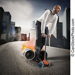 Businessman with fast creative scooter