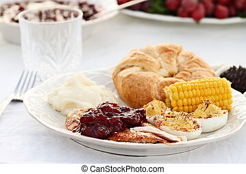 Cranberry Sauce Over Roasted Turkey