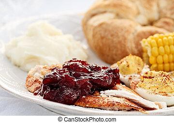 Cranberry Sauce Over Roast Turkey