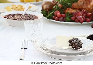 Thanksgiving Meal - Thanksgiving Holiday table setting with...