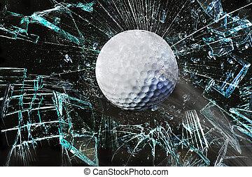 Golf ball through window. - Fast golf ball through broken...