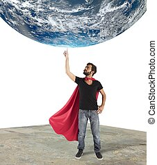 Superhero of the world - Superhero holds the world with a...