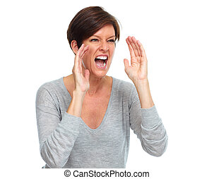 Shouting woman. - Happy Shouting woman. Emotions and...