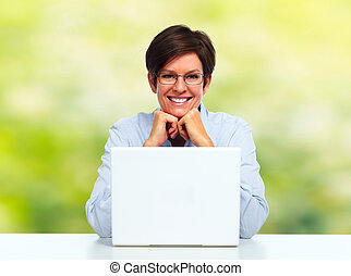 Woman with laptop computer.