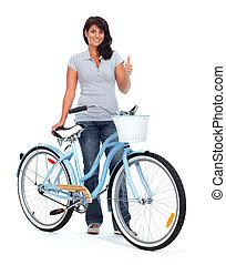 jeune, Asiatique, femme, à, bicycle.,