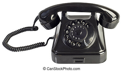 Rotary Phone Cutout - Black Bakelite Rotary Telephone...