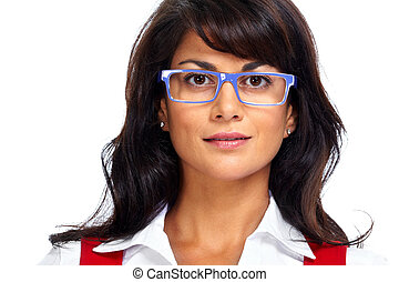 Asian business woman with eyeglasses.