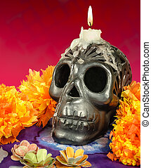 Oaxacan black clay Skull with candle - Day of the dead...