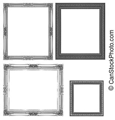 Picture Frames Silver black isolated on white background...