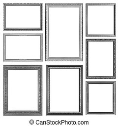 Picture Frames Silver black isolated on white background....