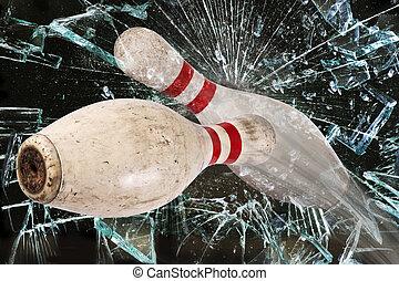 Bowling Pin Breaking Glass.