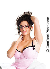 Attractive woman pose in bed look at camera, isolated on...