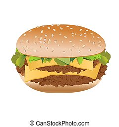 Cheeseburger, isolated on white background, vector