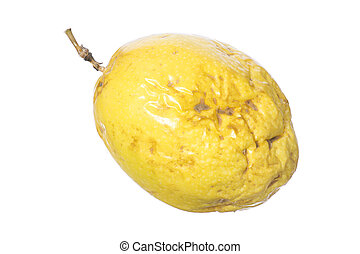 Closeup yellow maracuja passion fruit - Closeup whole yellow...