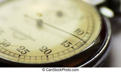 Vintage stop watch - Close up of an antique stopwatch,...