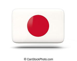 quadrado, ícone, com, bandeira, de, Japão,