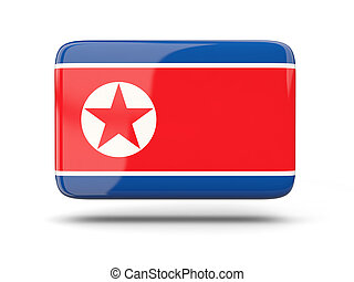 Square icon with flag of korea north - Square icon with...