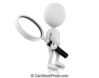 3d white people examines through a magnifying glass