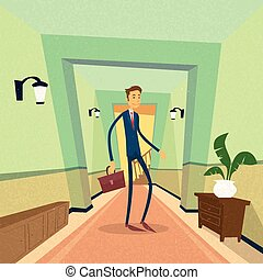 Businessman Standing Near Door Office Concept Flat