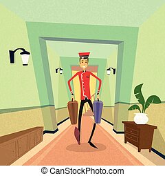Bell Boy Carry Suitcase Indoor Hotel Porter
