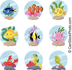 Cartoon sea life collection set - Vector illustration of...