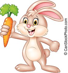 Cute bunny holding carrot isolated