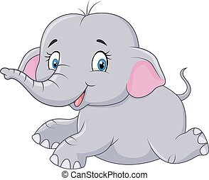 Cute baby elephant sitting isolated - Vector illustration of...