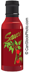 Tomato sauce in a glass bottle.