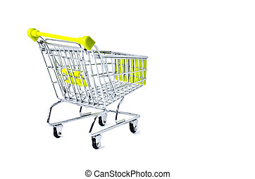 back view shopping trolley, isolated on white background