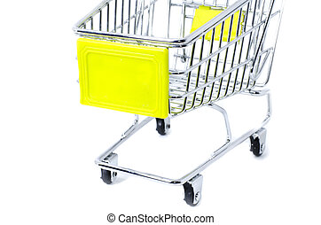 cropped front view shopping trolley, isolated on white background