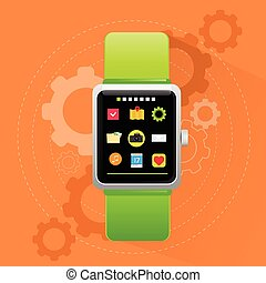 Smart Watch Electronic Device Icon Flat Design Vector...