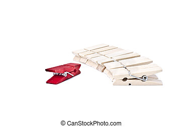 image concept of leadership focus on red clothes clip in front the line
