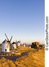 windmills with castle, Consuegra, Castile-La Mancha, Spain