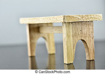 wooden table with reflection