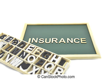 blackboard with word insurance behind box contain alphabetical collection isolated white background