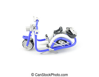 retro look old scooter made from blue wire isolated white background