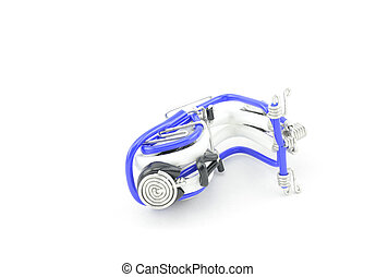 difference position mini scooter made from white, black and blue wire isolated white background
