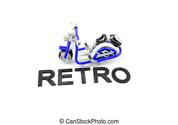 difference position mini scooter made from white, black and blue wire with word retro isolated white background
